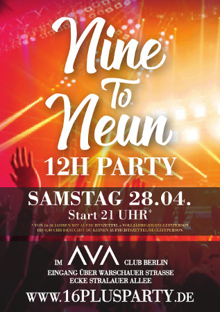 Ava Club Berlin / Samstag, 28. April 2018 / 21:00 Uhr